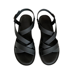 2019 summer new arrival women flat beach pvc jelly sandals with cross strap band upper ankle strap for women non-slip sandals