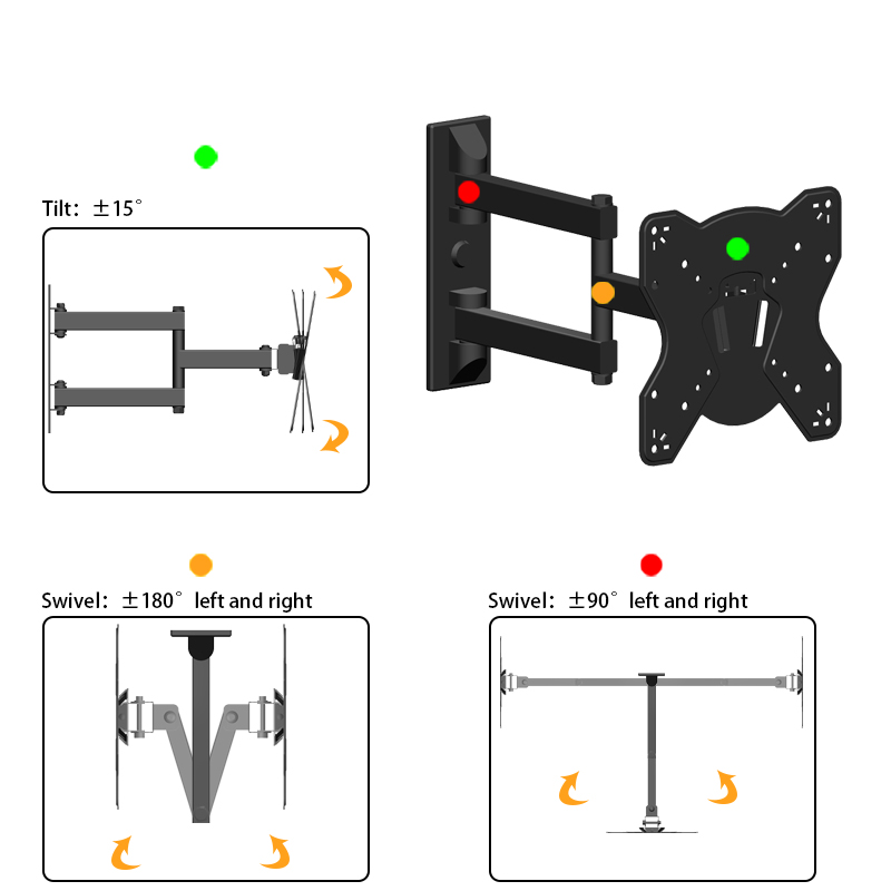 "ledbk226 Max VESA 200 x200 Articulating arm Full Motion Removable TV Wall Mount for 17""-42"" TV Screen"