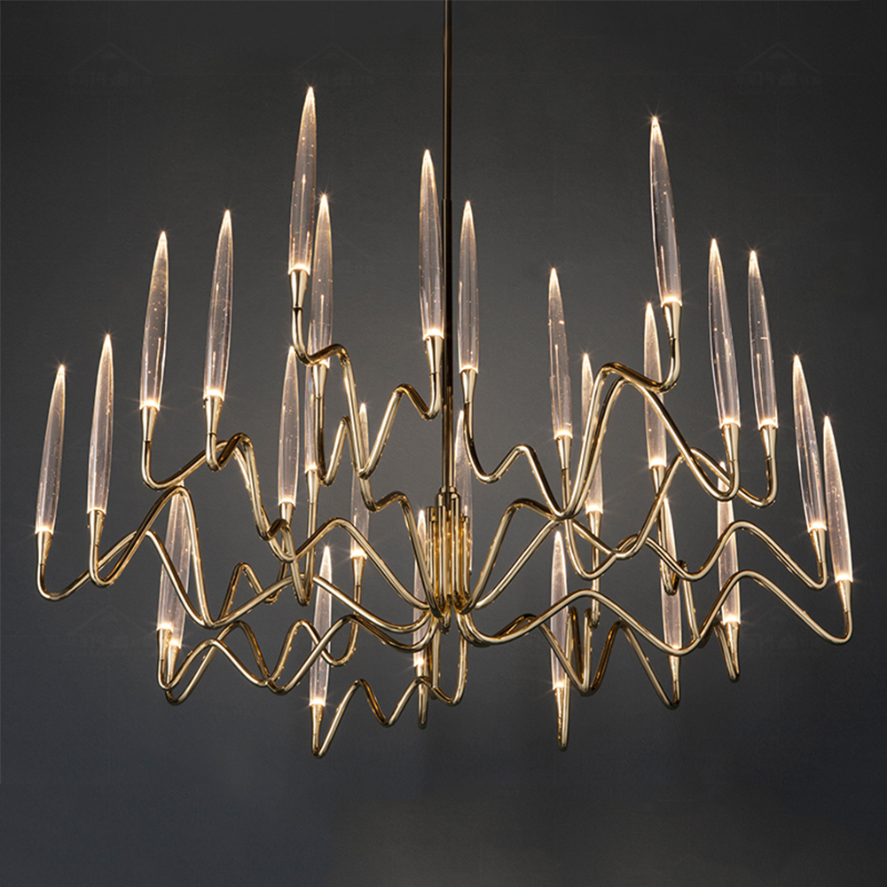 Modern indoor lighting glass brass led luxury chandelier