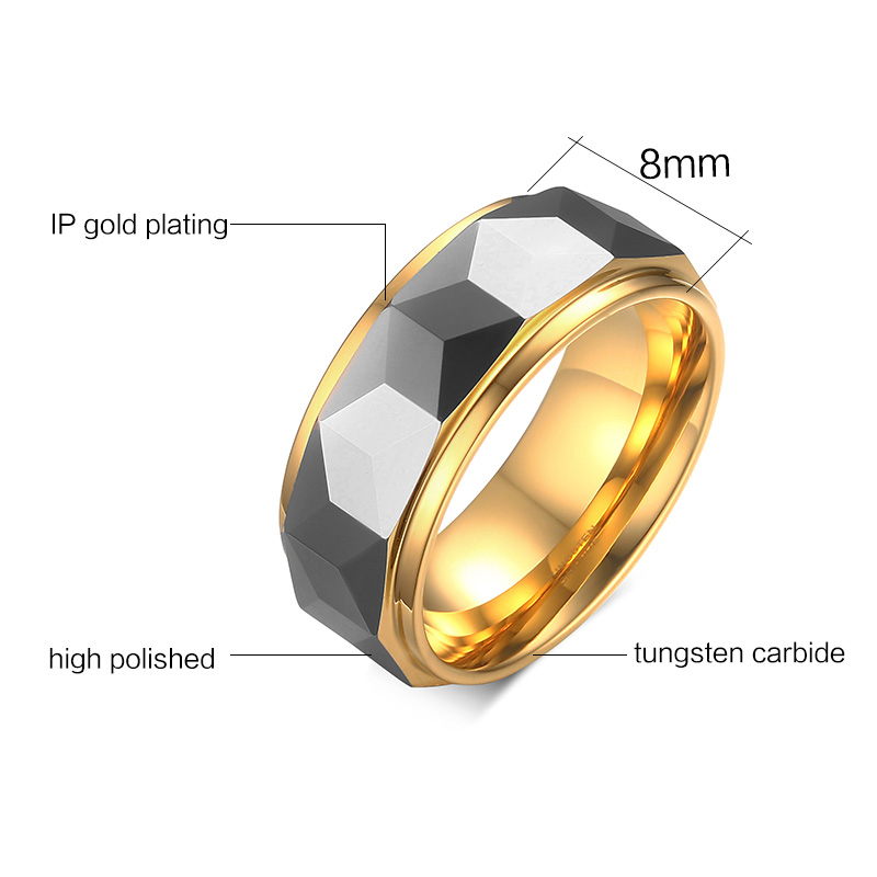 In Stock Wholesale Highly Polished 8mm Gold Women Men Wedding Band Tungsten Carbide Rings