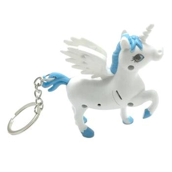 Unicorn Keyring Keychain Led Torch with Sound Car Handbag Phone Charm Pendant Novelty Christmas Xmas Gift SA4106
