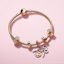 Fashion Rose Emas Charms Fit Pandora Gelang Grosir Handmade Charms Fit Pandora Rantai Ular Gelang
