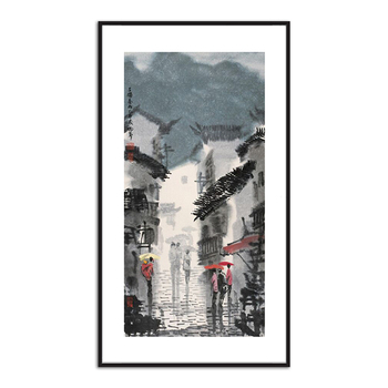 Classical Style Traditional Watercolor Painting Landscape Rain Street Theme for Home Decor