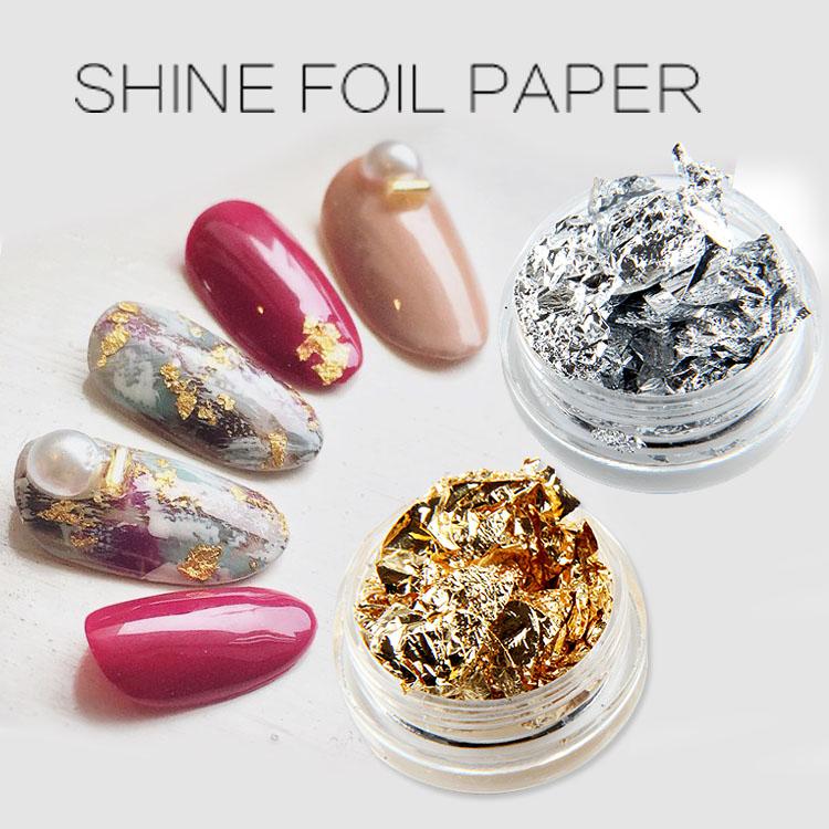 TSZS Wholesale Price Gold Silver Shine Foil Paper Aluminum Irregular Flakes Pigment Nail Art Decoration