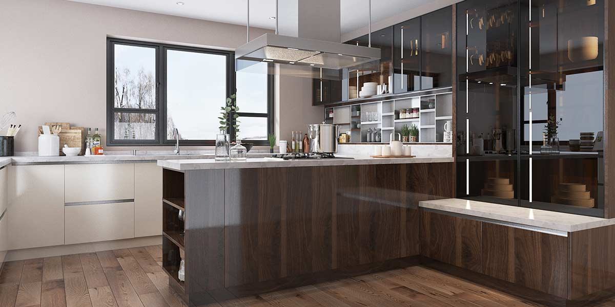 Nl Furniture Wood Brown High Gloss Uv Lacquer Kitchen Cabinet N lfurniture