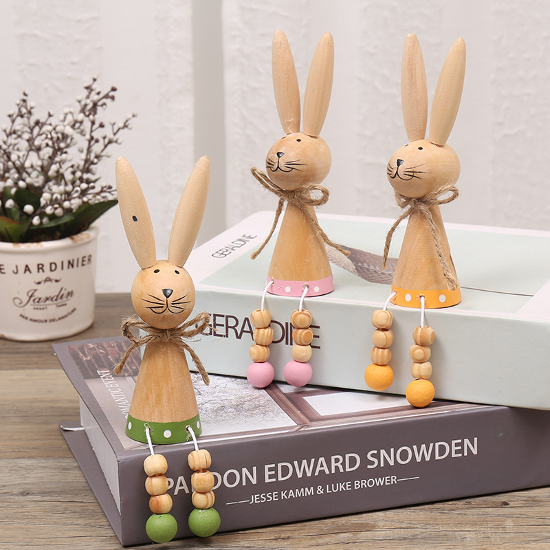 OEM new arrival Easter diy decorations lovely home crafts easter wooden <strong>rabbit</strong> ornament