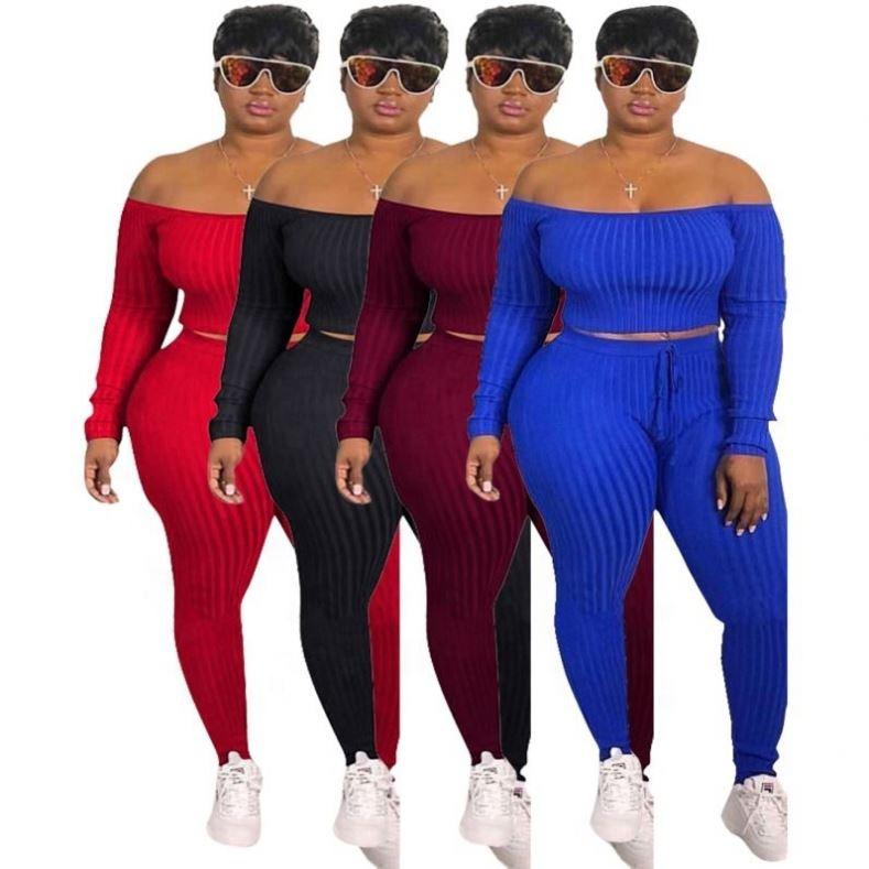 2019 wholesale 4 colors plus size two piece outfit