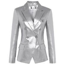Женский двубортный Блейзер DEAT, серебристый пиджак из искусственной кожи с пуговицами, приталенный, MG533, Осень-зима 2020(Китай)
