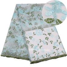 Африканская свадьба тюль цветочные кружева ткань для платья Diy кружева занавески окна одежда из ткани шитье лоскутное Diy Tissus Tecido(Китай)