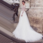 One Shoulder Luxury Beaded White Tulle Wedding Dress With Full Sleeves