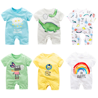 Custom Wholesale 2019 Short Sleeve Newborn Baby Boys Girls Onesie 100% Organic Cotton Clothes