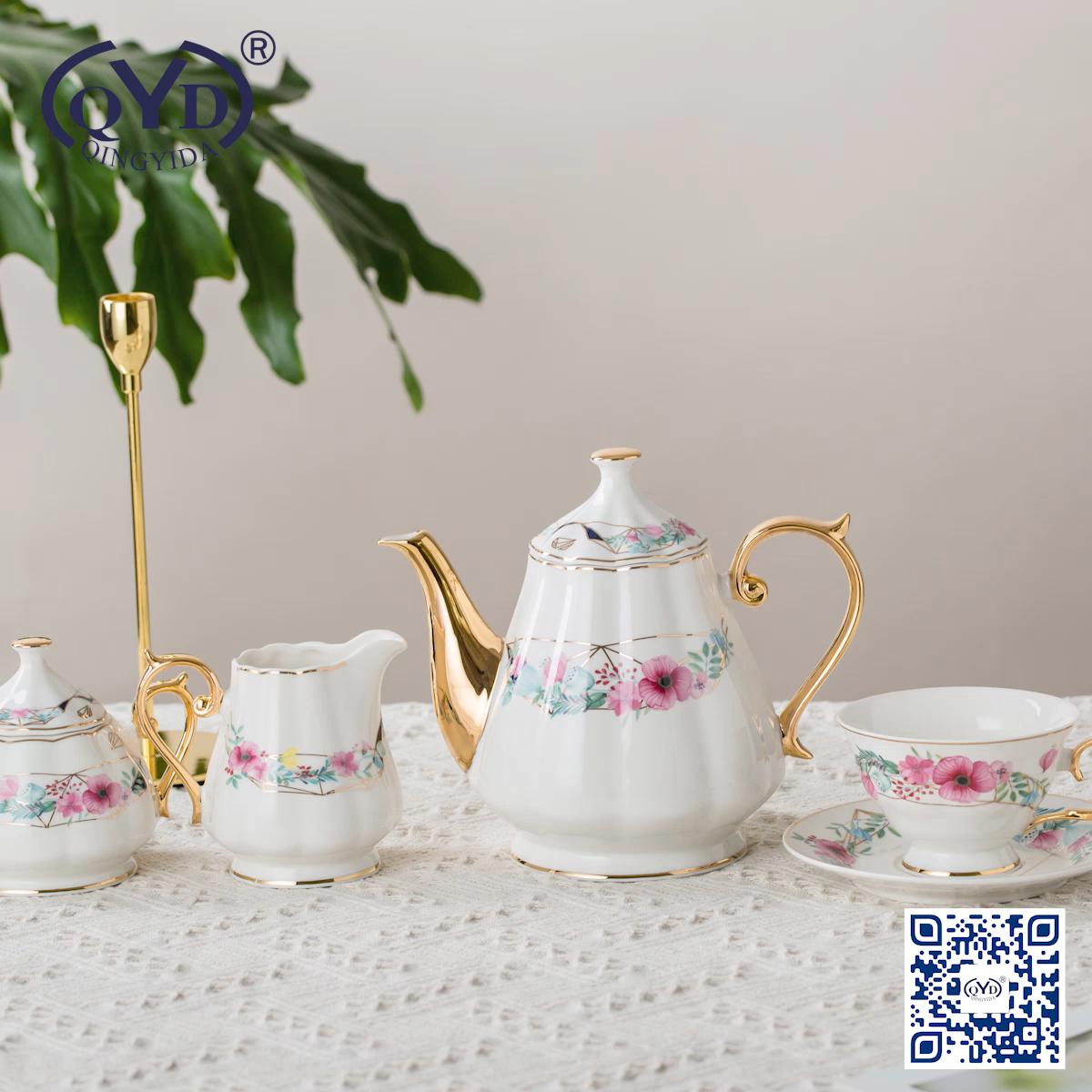 Rose design ceramic tea cups stock fine porcelain china coffee cup and saucer set