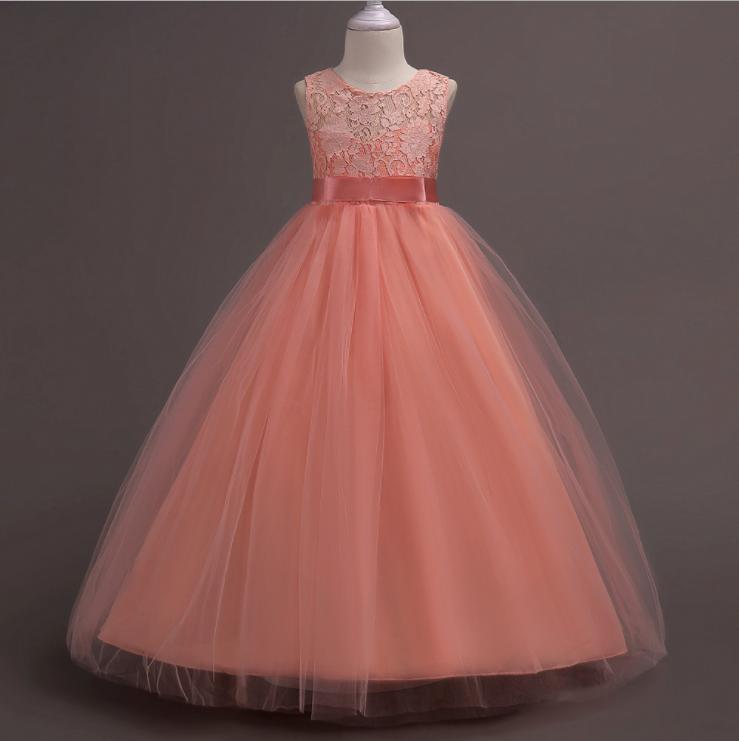 उच्च गुणवत्ता हस्तनिर्मित पार्टी झोंके बिना आस्तीन बच्चों लड़की राजकुमारी पोशाक
