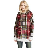2018 Winter Women Raw Edges Plaid Cashmere Hooded Knitted Sweater