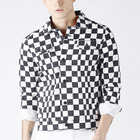 black and white custom plaid cotton canvas thin tailor jacket for men