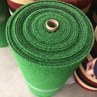 Korean market hot sale grey green red colorful 100% PP curly yarn 8mm grass mat roll floor matt with PVC backing