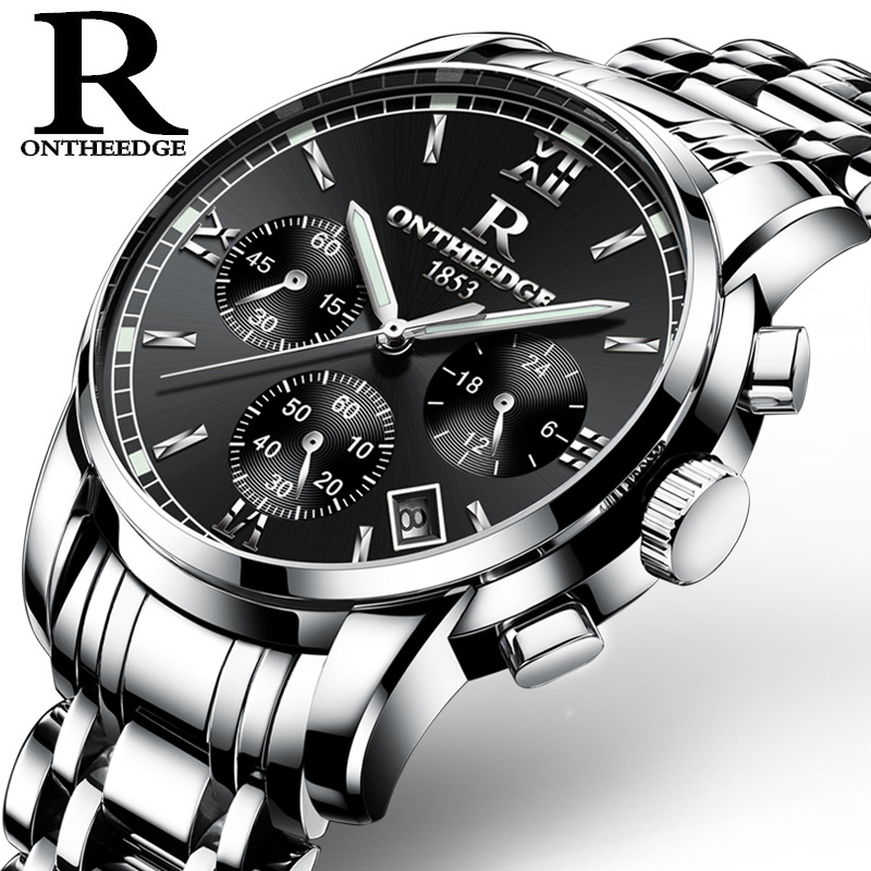 Wholesale multifunction stainless steel band business quartz wrist watch for men in stock