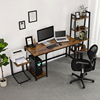 Commercial Metal Frame Simple Design Modern Style Iron Wood Computer Desk Dark Brown Desk Wood Home Office Furniture Collections