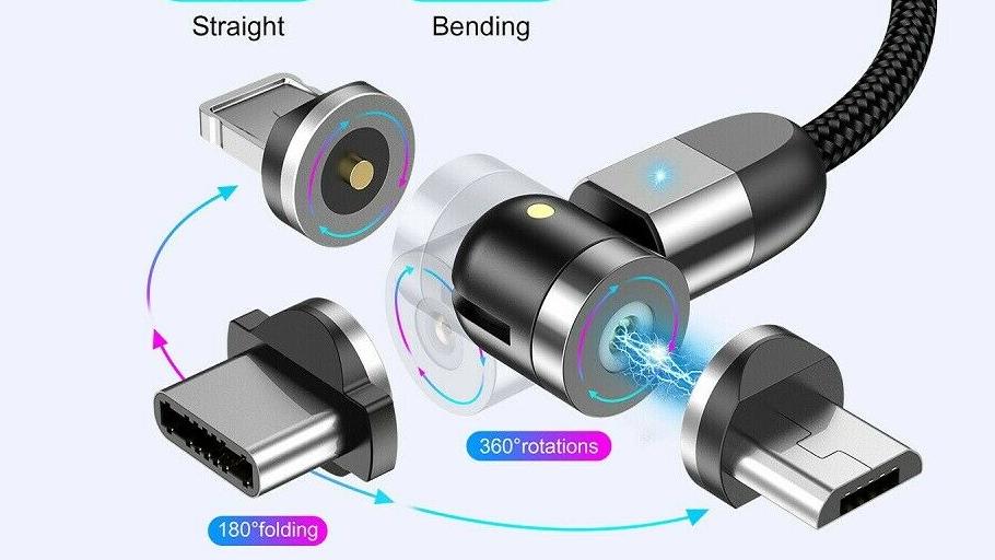 2020 nuovo Arrivo 540 Gradi di Cavo di Ricarica Magnetico Magnetico Del Telefono Mobile fast Charger per il tipo C Magnet Cavo Usb per iphone 12