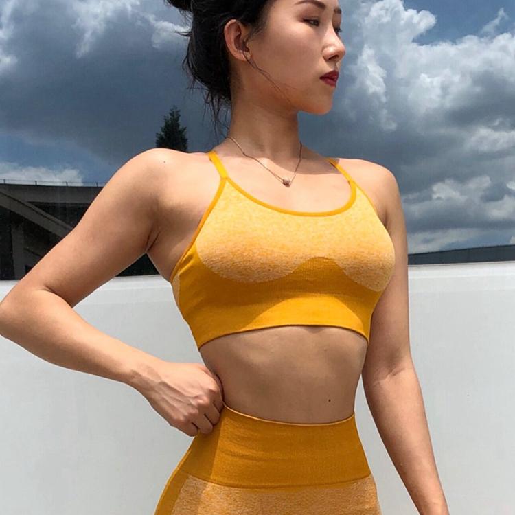 Adjustable Push Up Women Gym Wears Yoga Top Workout Training Seamless Sports Bra фото