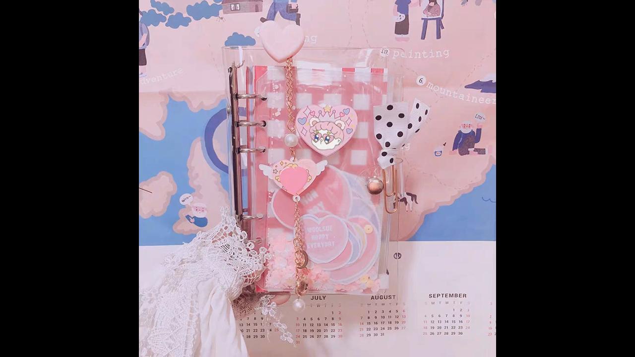 2019 neue design a6 rosa abdeckung tagebuch lose-blatt notebook mit ring binder.