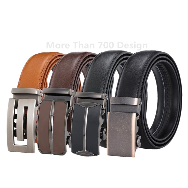 LQbelt Factory OEM Genuine Leather Automatic Buckle Belt Wholesale Belts For Men Leather Belt Ratchet