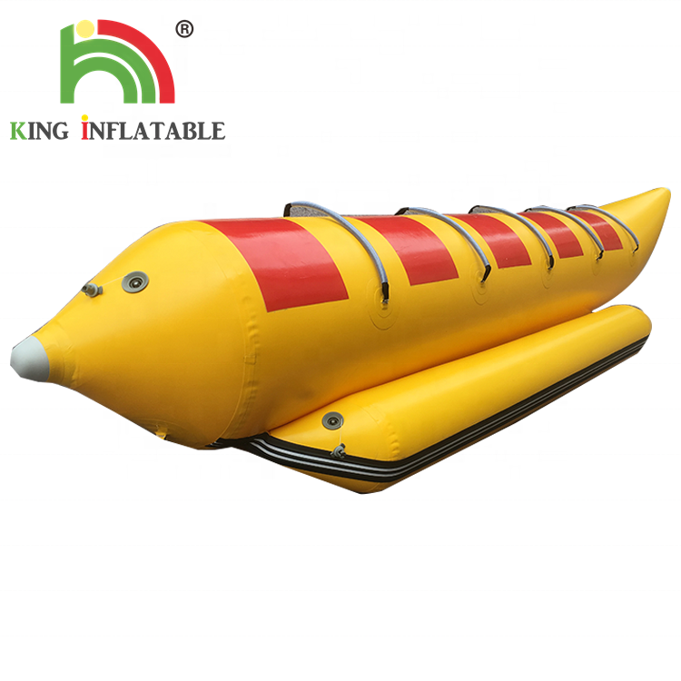 Free Shipping PVC Yellow Banana Boat 5 Seats Inflatable In Sea