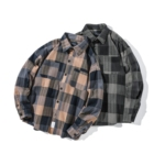 Couple's Vintage Plaid Dress Shirt For Men Turn-down Collar Embroidered Loose Clothes