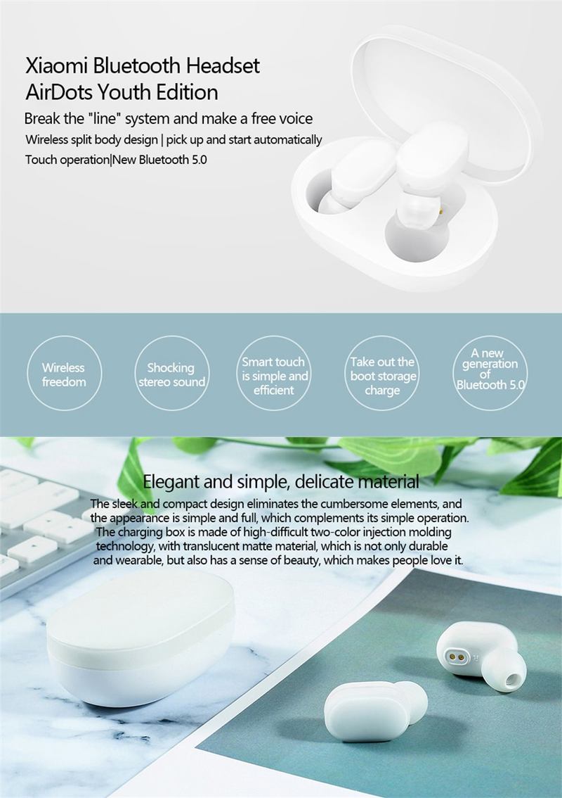 Xiaomi AirDots Original TWS Earphones Wireless Smart Ai Control Headphone Handsfree Stereo Bass with Mic Headset