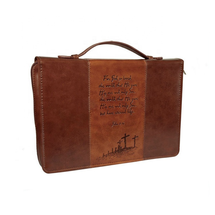Leather organizer handle bible cover