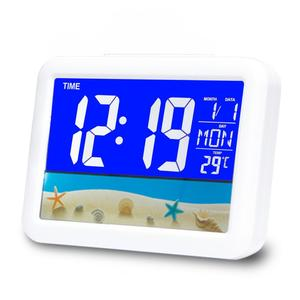 Modern LED backlight plastic table clock digital alarm clock with calendar display
