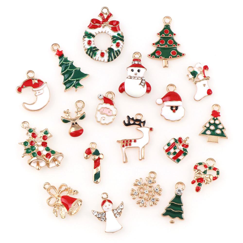10Pcs Metal alloy Mix Christmas Sets charm For Holiday Decoration DIY Jewellery Pendants Christmas Tree Decoration
