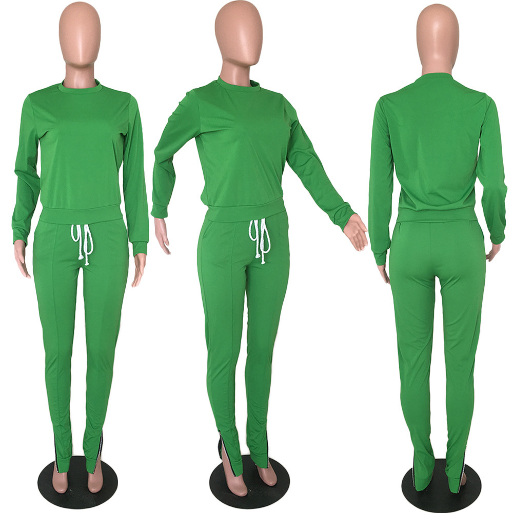 Düz renk uzun kollu kazak fermuar Joggers eşofman eşofman 2 parça eşofman takımı rahat kıyafetler kadın eşofman