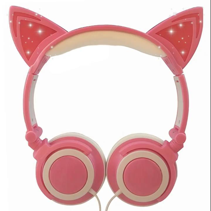 Cute popular cat ear headphones OEM ODM Gaming Earphones for kids and girls  LED Flashing Cosplay Gift pink blue headset
