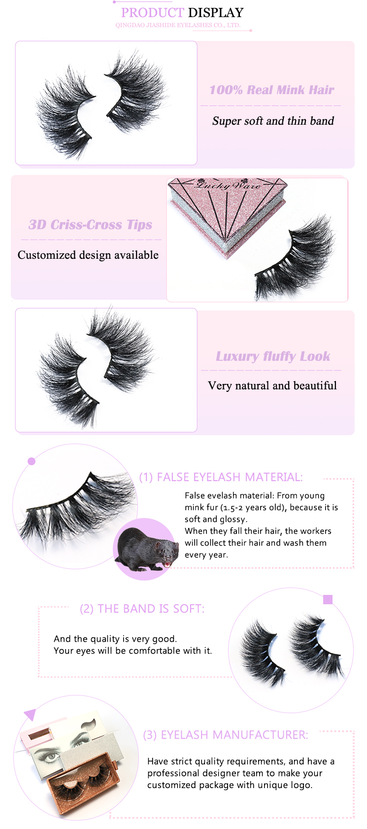 Create your own brand eye lashes luxury long lasting 100% 3d mink false eyelashes 25mm 3d mink eyelash