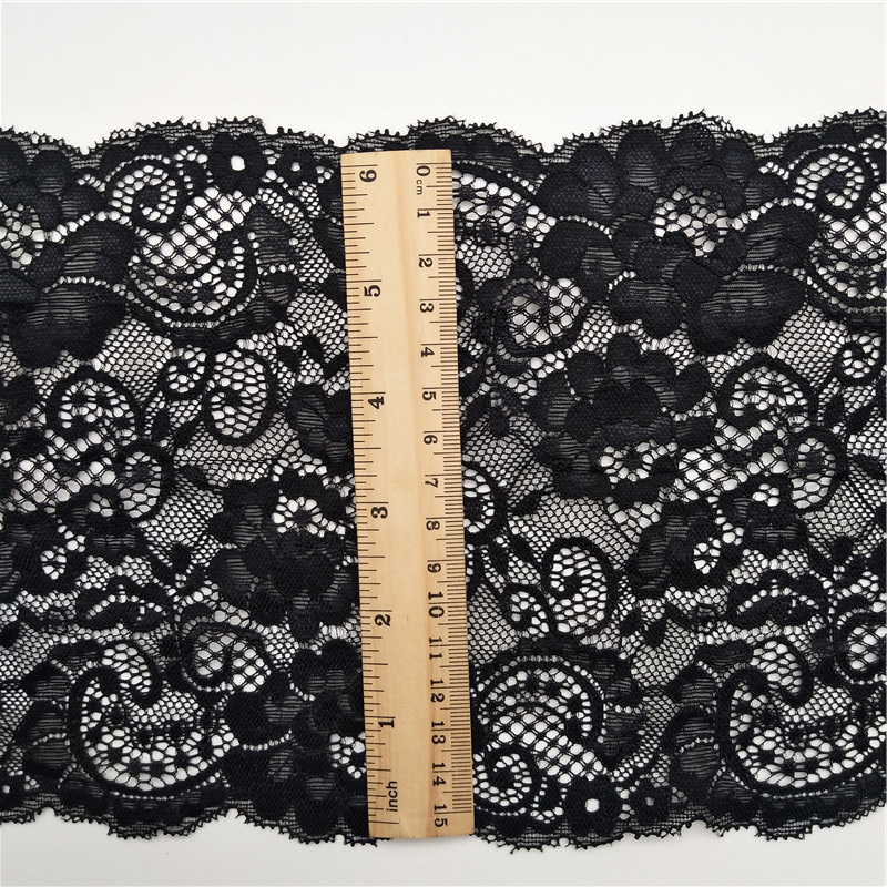 17cm black color french elastic lace trim stock