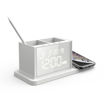 10W wireless multifunctional charger  alarm clock with wireless charging