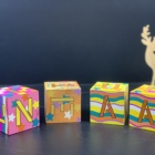 Pattern Wooden Blocks Babies Solid Wood Cubes For Crafts