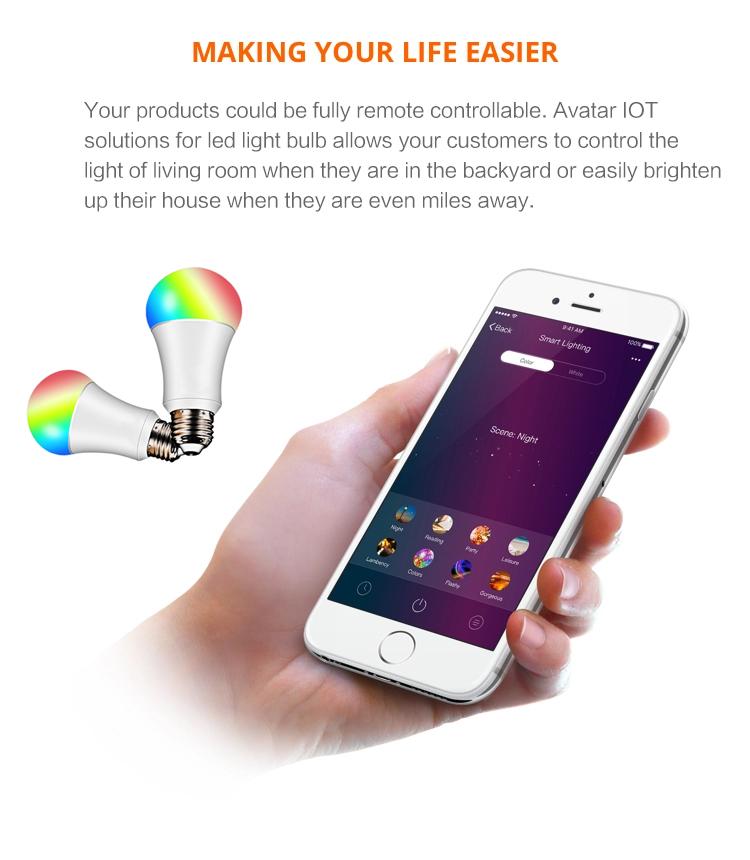 Smart phone Wifi controlled smart light bulb smart home lighting control
