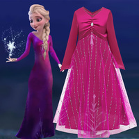 High Quality Elsa Frozen 2 Princess Kids Party Cartoon Cosplay Costume Flozen Baby Girl Dress BX1659