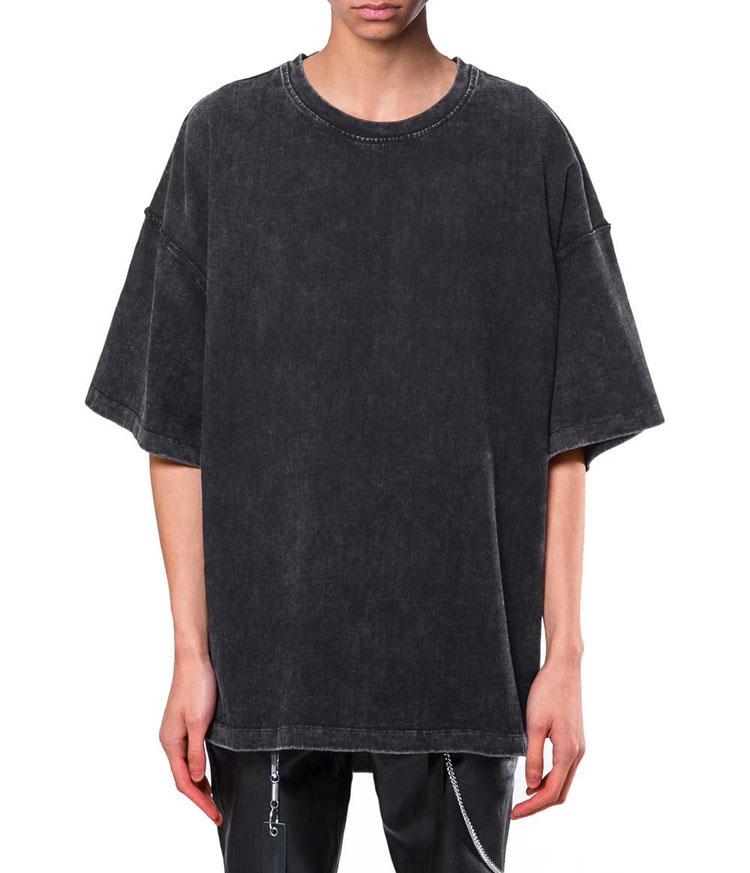 Custom Bleke Verontruste Heren Top Zware Gewassen Katoen Oversized Gedaald Schouder Half Mouwen Mannen Zwarte T-shirt