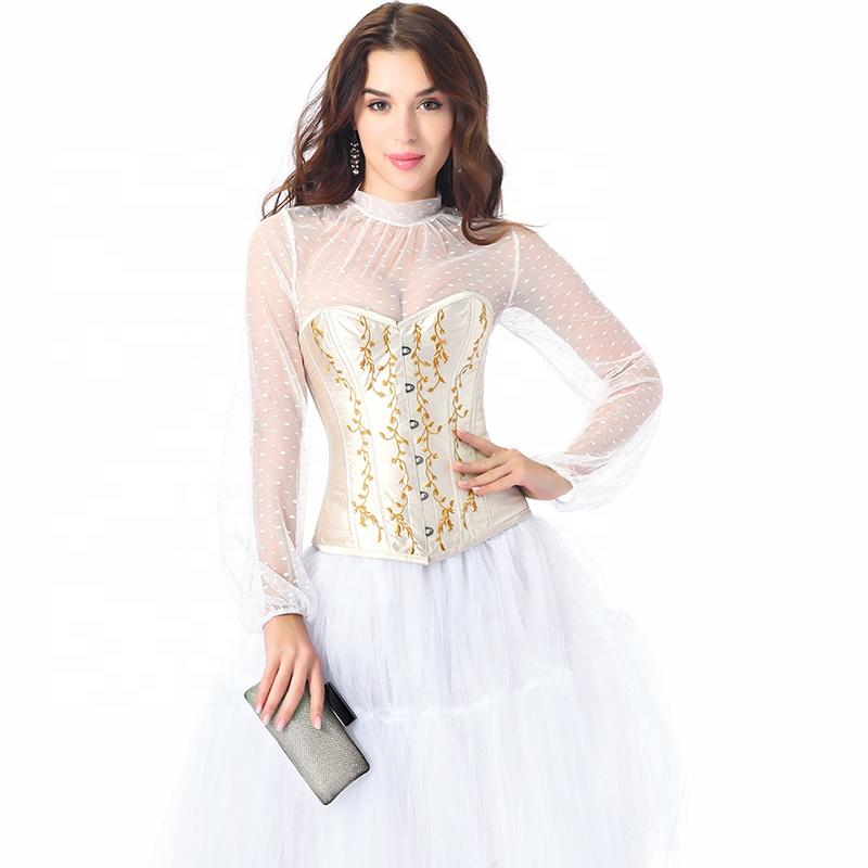Ball Gown กระโปรง Maxi หรูหราออกแบบล่าสุดเซ็กซี่ Fajas Steampunk Corset สีขาว Gaine เหล็กกระดูกสามชิ้นชุดเจ้าสาวจัดงานแต่งงาน