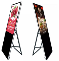 Indoor 55 inch floor standing capacitive touch screen foldable digital signage advertising display LCD kiosk with HDMI 350nits