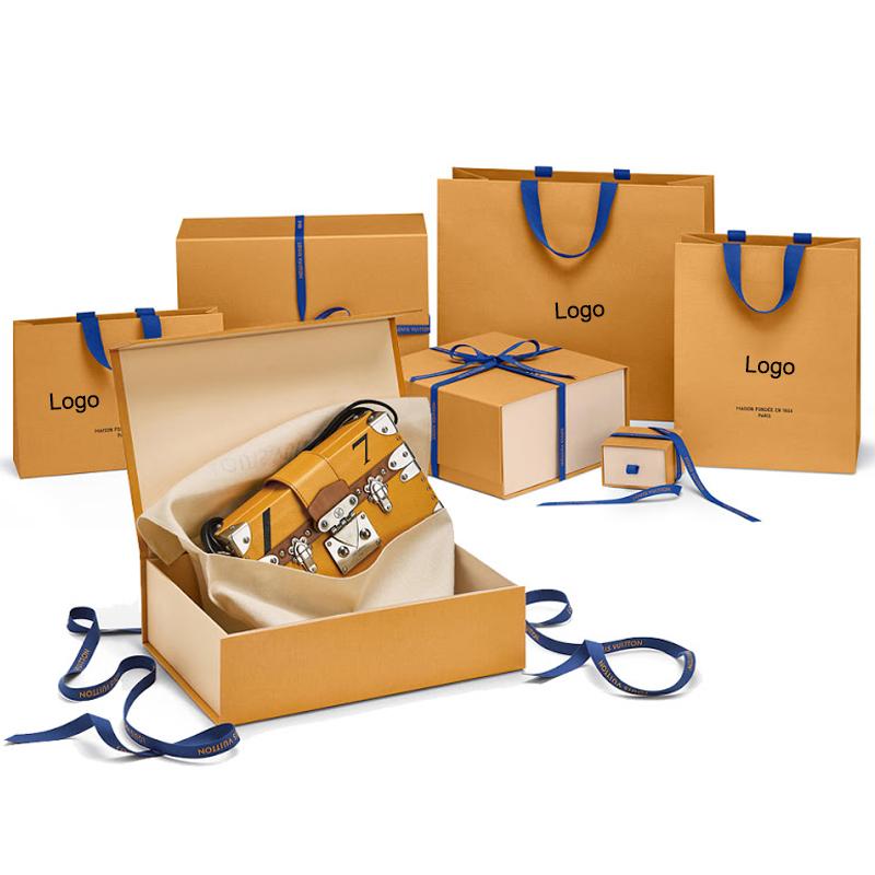 Özelleştirilmiş lüks markalı kağıt karton seti hediye çantası ve kutu çanta ambalaj kutusu çanta çanta cüzdan için