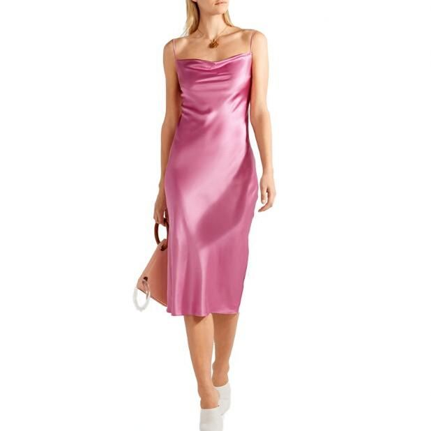 square neckline elegant Women Sexy <strong>Silk</strong> Plain Cowl Neck Slip satin sleeveless spaghetti strap evening party formal <strong>Dress</strong>