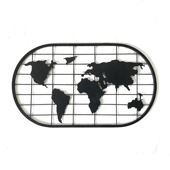 metal black world map style wall hangings decoration accessories card photo holder display rack for home decor