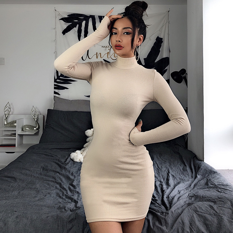 Europe and America Market Long Sleeve Dress Women's Sexy Elastic Spandex Dress