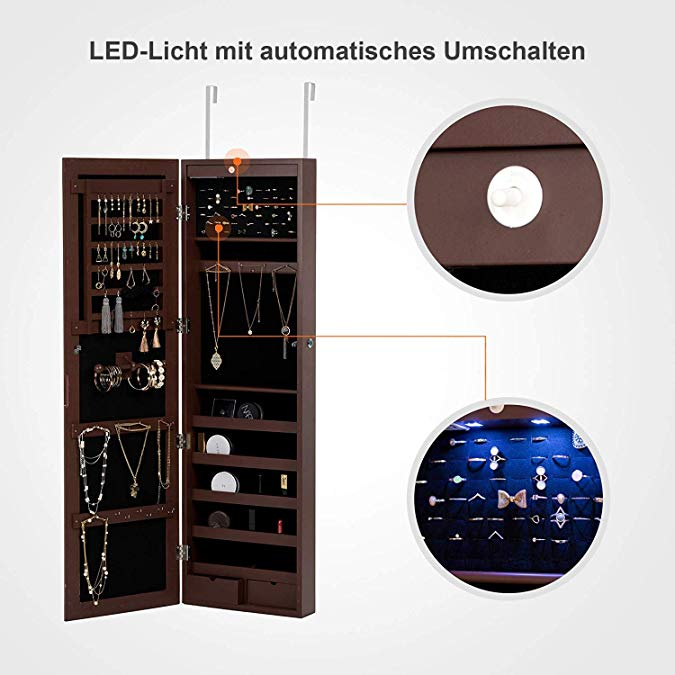 Brown Home Accessories Display Jewelry Cabinet Led Light