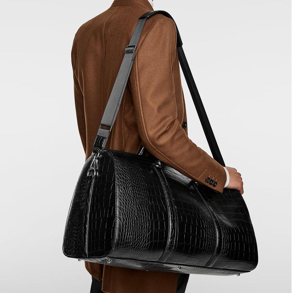 custom logo black crocodile pu leather travel outdoor weekender duffle luggage bag for man