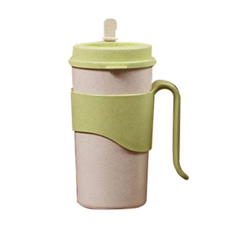 AFTCE080C Wheat Straw Tea Bottles 550ml Large Color Changing Plastic Cup With Lid and Handle